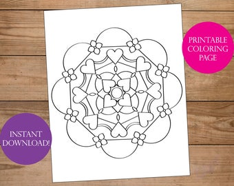 Mindfulness Coloring Pages Pdf : Adult coloring page heart mandala book printable digital