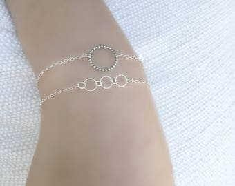Layered Circle Ring Bracelet Silver Wrap Bracelet All 925 sterling silver Karma Bracelet Eternity Jewelry Friendship Layering Modern Gift