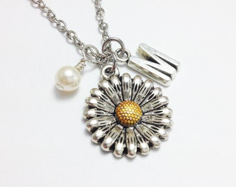 Personalized necklace - sunflower necklace - pearl necklace - initial necklace - customized - best friend - friendship - birthday gift