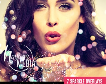 Digital Sparkles Photoshop Overlay - Bokeh Light Effect for Photographers - 7 JPG Versions - Instant Download