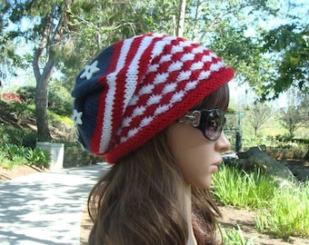 DIY - Knitting PATTERN  #79: 4th of July patriotic knit hat pattern, American flag hat pattern, 4th of July hat pattern -  Digital Pattern