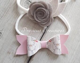 BEAUTIFUL BOW SET | baby bow set | flower headband | felt flower | faux leather bow