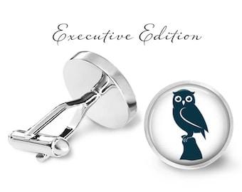 Owl Silhouette Cufflinks - Owl Cuff Links - Owls Cufflink (Pair) Lifetime Guarantee (S0036)