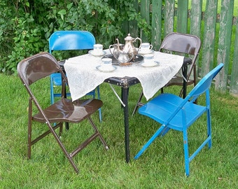 Mid Century Lyon Metal Folding Chair