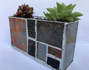 Stained glass planter