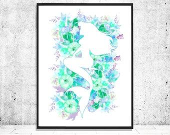 Printable Mermaid Nursery Art, Mermaid Watercolor Print, Floral Decor, Mermaid Wall Decor, Blue Nursery Watercolor Decor, Instant Download