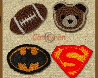 Football, Teddy Bear, Batman and Superman Logos - INSTANT DOWNLOAD Crochet Pattern