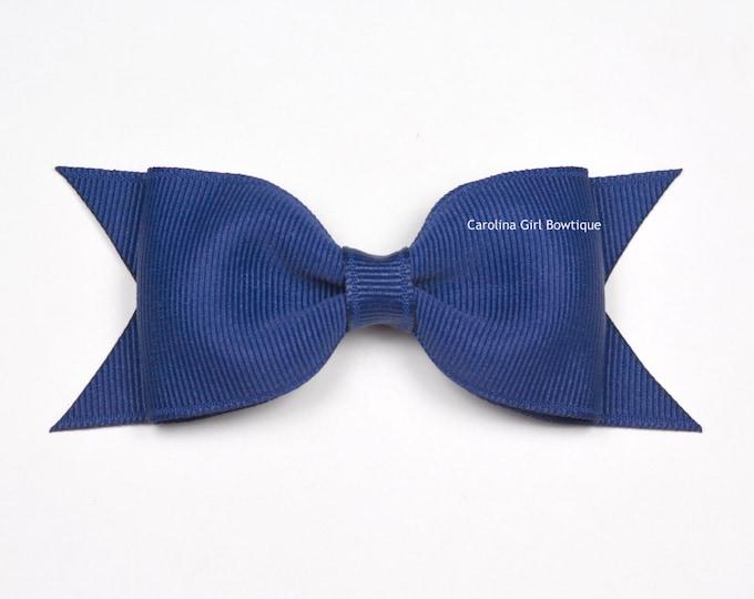 "Light Navy Blue Tuxedo Bow ~ 3.5"" Hairbow ~ Small Hair Bow ~ Girls Barrette ~ Toddler Bow ~ Baby Hair Bow ~ Hair Clip ~ Girls Hair Bow"