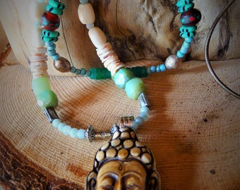 Buddha Face Necklace, Peruvian Blue Opal, Carved bone, Buddha, Bohemian, Boho, Retro, African Beads