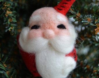 Christmas Tree Decor - Santa Ornament - Christmas Ornament - Wool Felt Santa