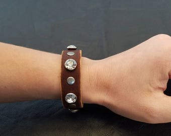 Bling and Leather Cuff Bracelet, Boho Cuff, Bohemian Cuff, Thin Leather Bracelet, Brown Leather Bracelet, Leather Bracelet with Crystals