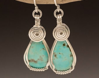 Turquoise Teardrop Sterling Silver Wire Wrapped Earrings - Ready to Ship!