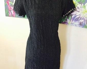 Vintage Black Fashion Frock with Sequins/Vintage Sequin Dress/Silky Shift dress/Vintage Summer dress/Black Shift Dress/Sparkly Vintage Dress