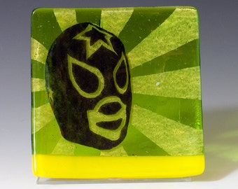 Luchador Keys And Coins Dish, Mexican Wrestler Dish, Fused Glass Catch All Dish, Wrestler Candle Holder