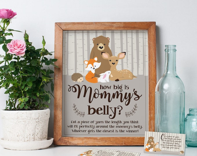 How Big is Mommys Belly Game - Woodland Baby Shower Game, Tummy Game - Baby Shower Activities | INSTANT Download DIY Printable PDF Kit
