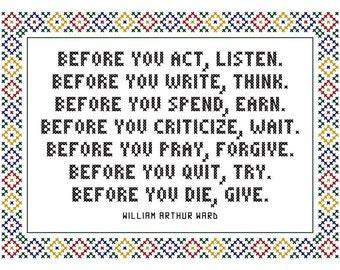 Before You Act - Original Cross Stitch Chart