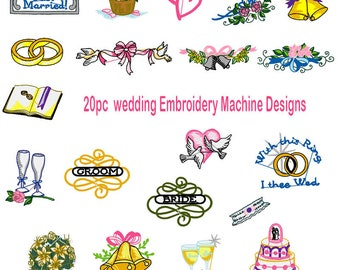 Wedding Rings Collection of 20 Machine Embroidery Designs