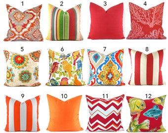 Indoor Outdoor Pillow Covers ANY SIZE Decorative Pillows Outdoor Red Pillows Orange You Choose