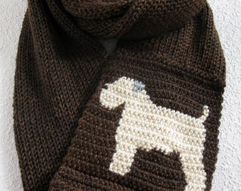 Wheaten Terrier Infinity Scarf. Coffee color knitted scarf with soft coated wheaten dogs. Knit dog scarves. Wheaten terrier gift
