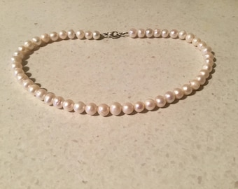 Choker style necklace of Natural Freshwater Pearls w sterling Silver .925 lobster clasp