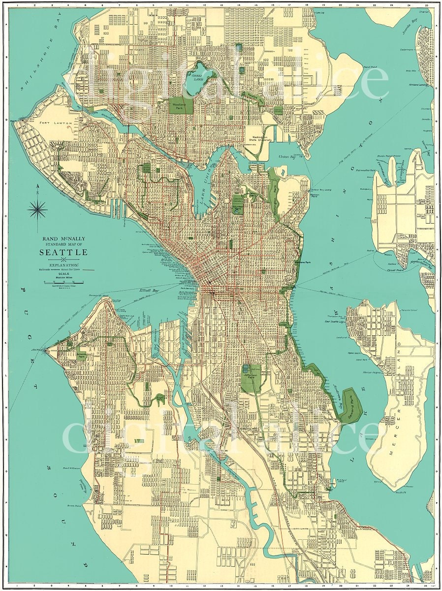 vintage 1920 u0026 39 s seattle street map city of seattle