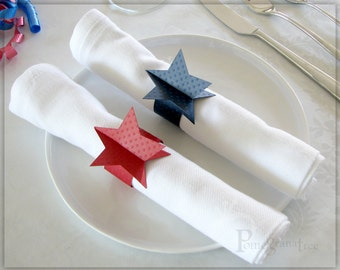 4th of July , Red White and Blue , Paper Napkin Rings , Star Party Supplies , American Flag Table Decorations , Set of 5 Blue & 5 Red STD04