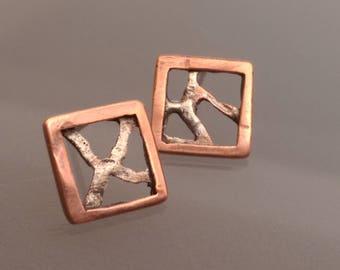 Stud earrings, contemporary art earrings, elegant, one of a kind