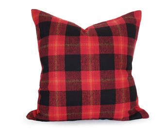 Winter Lodge Pillow, Rustic Pillow Cover, Red Wool Pillow, Red Black Plaid, Winter Throw Pillow, Birthday Gift for Him, Zipper, 20x20