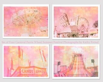 Pastel Carnival Print Set, Baby Girl Nursery Wall Decor, Pink Carnival Print Set, Dreamy Carnival Prints, Pink Pastel Nursery Carnival Decor