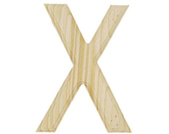 "6"" Blank Unfinished Wooden Letter X"