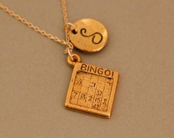 Personalized Bingo Jewelry Necklace - bingo gift jewelry - bingo gift necklace - bingo necklace - bingo jewelry- bingo charm - bingo pendant