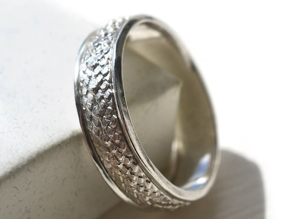 Dragon Scale Ring Mens Sterling Silver Wedding Band