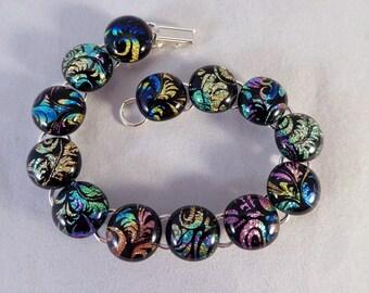 8 Inch Multi Colored Dichroic Fused Glass Bracelet, Fused Glass, Fused Glass Bracelet, Glass Bracelet, Dichroic Bracelet, Dichroic, Colorful