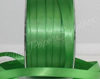 """Leaf Green Satin Ribbon, Pantone Greenery,  3/8"""" wide by the yard, Green Satin Ribbon, Green Ribbon,  Bouquets, Boutonierres, Weddings"""