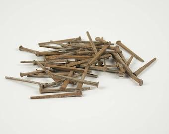 "100 Vintage Square Nails, Finish Nails, 2"" Square Head Nail, Period Restoration Hardware, Rustic Decor, Old Cut Nails E001"