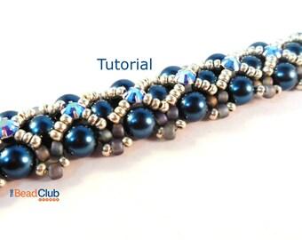 Right Angle Weave Patterns - Beaded Bracelet Patterns - Beading Pattern and Tutorial -  Beadweaving Tutorial - Scalloped Edges Bracelet