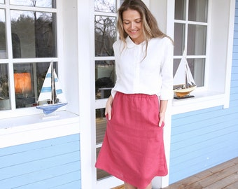 Long Linen Skirt / Wide Skirt with Elastic Waist / Midi Skirt / Skirt with Pockets / High Waist Linen Skirt / Elastic Waistband / Bottom