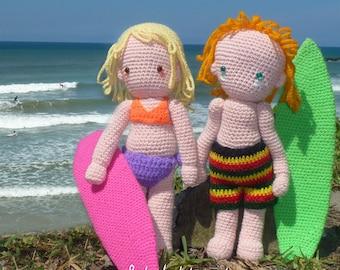 Amigurumi Boy Doll Pattern : Doll crochet pattern amigurumi surf surfer girl surfing boy