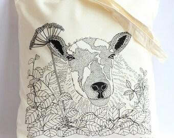 Through the hedge 'Sheep' Cotton Tote Bag