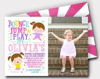 Trampoline Birthday Invitation | Bounce Birthday Invitation | Bounce House Invitation | Jump Invitation | Bounce Invitation