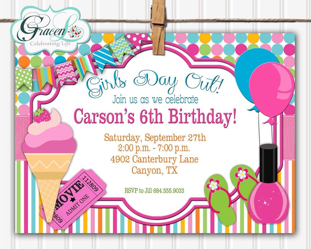 Girls Day Out Birthday Invitation Girls Day Out Invitation