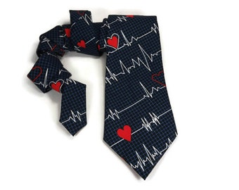 Ekg tie, heartbeat necktie, nurse tie, doctor tie, heart beat tie, doctor graduation gift, medical tie, medic tie, paramedic tie, hospital