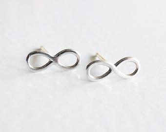 Infinity Earrings, Tiny Earrings, Sterling Silver Studs, Infinity Earring Studs, Minimal Earrings, Sterling Silver Hypoallergenic (E262)