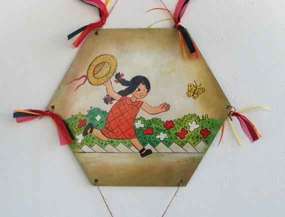 Little Girl Chasing Butterflies - Wooden Kite - Home Decor - Wall Hanging