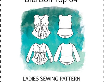 Branson Top 04 PDF sewing pattern ladies top bow waist tie button up linen woven long sleeve sleeveless