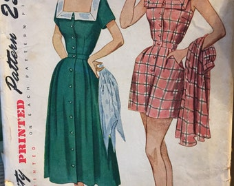 Vintage Playsuit and Skirt Sewing Pattern 1950's Simplicity 3195 Bust 37 Complete