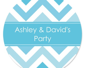 24 Chevron Blue Circle Stickers - Personalized Baby Shower, Birthday Party, or Bridal Shower DIY Craft Supplies