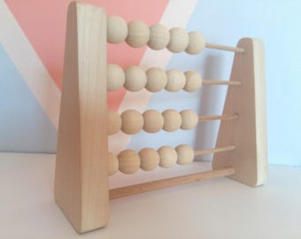 Abacus Wood - Wooden Counting Toy - Learning Toys - Montessori Waldorf Learning - Wooden Toys