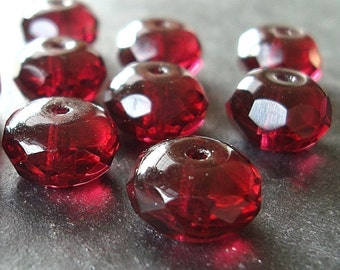 Czech Glass Beads 11 x 7mm Cranberry Garnet Red Faceted Rondelles - 12 Pieces