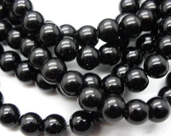 50 glass beads Black 8 mm opaque non Pearl